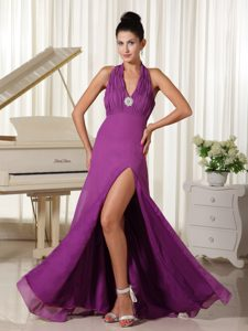 Halter High Slit Ruched Youth Pageant Dress in Floor-length on Promotion