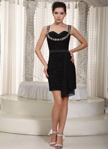 Black Straps Mini-length Miss Mississippi Pageant Dresses with Beading