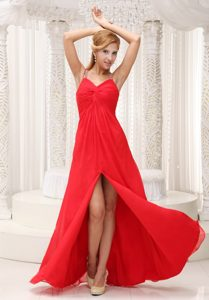 Beaded Straps High Slit Dress for Pageants in Chiffon for Wholesale Price