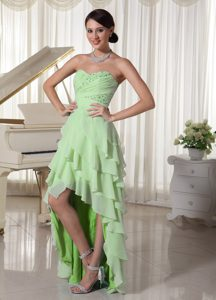 Cheap Light Green Chiffon High Low Pageant Dress for Girls with Ruching