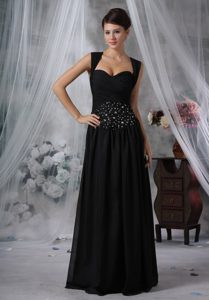 Black Chiffon Floor-length Low Price Pageant Dress Patterns with Beading