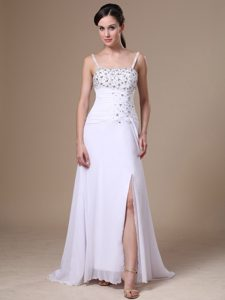 High Slit Column Beaded Discount Miss World Pageant Dress with Straps