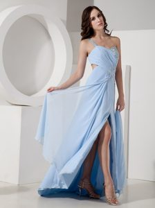 Light Blue Empire One Shoulder Dress for Pageants in Chiffon on Promotion