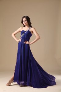 Empire One Shoulder Natural Beauty Pageants Dress with Beading on Sale