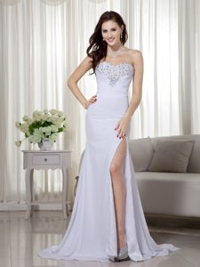 Column Sweetheart Chiffon Pageant Dresses for Miss America in White