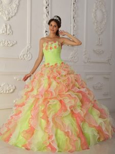 Custom Made Muti-Color Strapless Organza Pageant Dress for Miss World