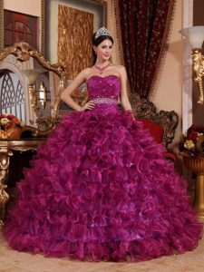 Nice Sweetheart Floor-length Organza Pageant Dresses for Girls in Purple