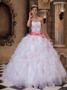 White Ball Gown Strapless Pretty Glitz Pageant Dress in Organza and Satin