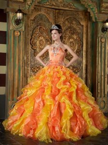 Perfect Orange Strapless Floor-length Organza Pageant Dress with Ruffles