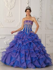 Low Price Strapless Floor-length Organza Pageant Dresses with Appliques