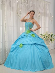 Baby Blue Strapless Floor-length Discount Pageant Dresses with Flowers
