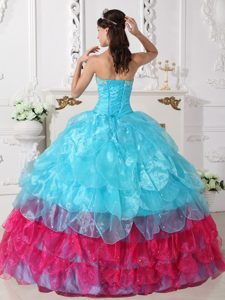Cute Ball Gown Strapless Dresses for Pageants in Aqua Blue and Hot Pink