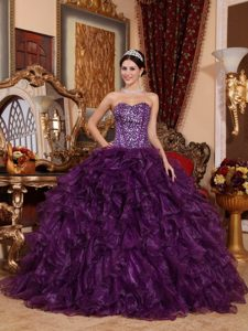 Purple Ball Gown Sweetheart Sweet Natural Pageants Dress with Sequins