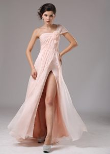 Light Pink One Shoulder Pageant Dresses for Girls with High Slit on Sale