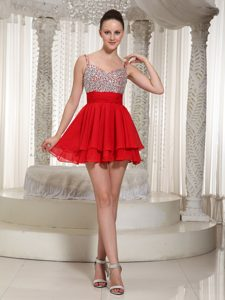 Spaghetti Straps Pageant Dresses for Miss USA for Wholesale Price in Red
