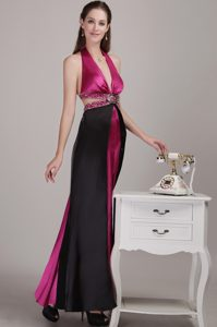 Perfect Fuchsia Empire Halter Youth Pageant Dresses in Elastic Woven Satin