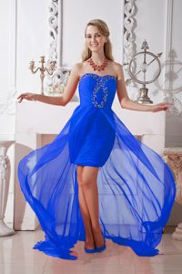 Column Strapless High Low Beaded Discount Interview Pageant Suits in Blue