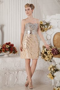 Cute Champagne Column Sweetheart Mini-length Pageant Dress with Sequin