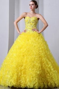 Yellow A-line Sweet Brush Train Beaded Organza Pageant Dress with Ruffles
