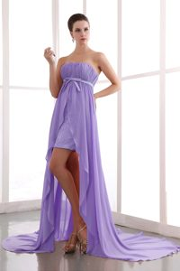 Lilac Column Strapless Inexpensive Beaded Pageant Dress with Court Train