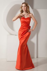 Low Price Rust Red Mermaid Spaghetti Straps Pageant Dress with Ruching