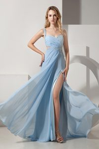 Light Blue Chiffon Brush Train Discount Pageant Dresses with One Shoulder