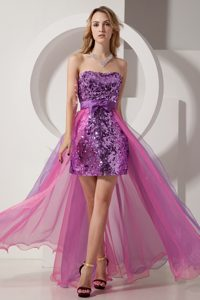 Column Strapless High Low Pageant Dresses on Promotion in Purple and Pink