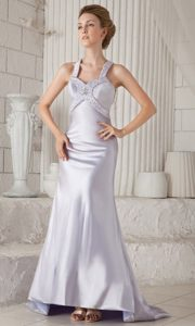 Customized Lilac Brush Train Straps Pageant Dress for Miss World with Beading