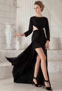 Bateau Long Sleeves Brush Train Pageant Dresses with Cutout Waist and High Slit