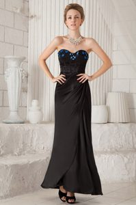 Cheap Black Sweetheart Ankle-length Taffeta Prom Pageant Dress with Appliques