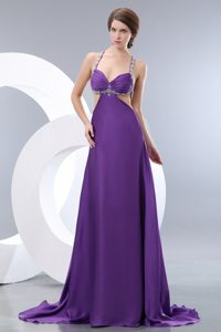 Chic Brush Train Purple Ruched Chiffon Pageant Dress with Beading and Cutouts