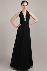 New Plunging Neckline Floor-length Ruched Black Pageant Dress with Appliques