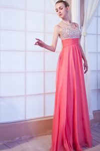 Spaghetti Straps Floor-length Watermelon Chiffon Pageant Dresses with Beading