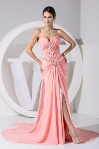 Watermelon Sweetheart Court Train Ruched Prom Pageant Dress with Appliques