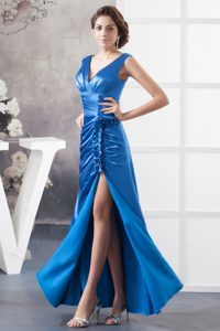 V-neck Floor-length Sky Blue Ruched Pageant Dress with High Slit and Rosettes