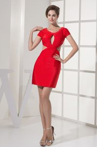Scoop Mini-length Short Sleeves Red Natural Beauty Pageant Dress with Cutouts