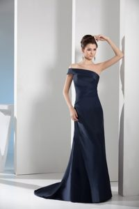 Customized One Shoulder Brush Train Navy Blue Pageant Dress for Miss World