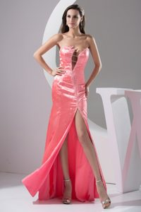 Watermelon Strapless Floor-length Beaded Pageant Dress with Cutouts and Slit