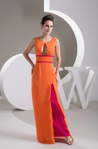 Scoop Floor-length Orange and Fuchsia Prom Pageant Dress with Cutout on Sale