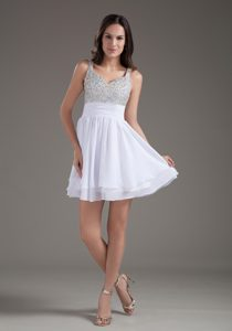 White Straps Mini-length Chiffon Layered Pageant Dresses for Girls with Beading