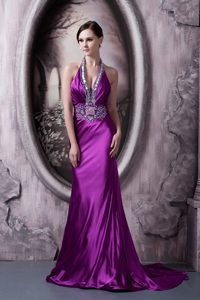 Plunging Neckline Brush Train Eggplant Purple Ruched Beaded Pageant Dresses