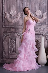 Sweetheart Brush Train Pink Ruched Appliqued Organza Pageant Dress with Ruffles