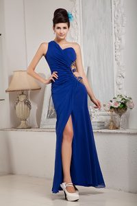 Royal Blue One Shoulder Ruched Pageant Dresses with Beading and Cutout Waist
