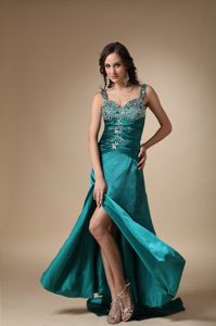 Straps Brush Train Turquoise Taffeta Ruched Pageant Dress with Beading and Slit