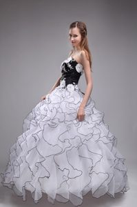 Sweetheart White and Black Ball Gown Pageant Dress with Appliques and Ruffles