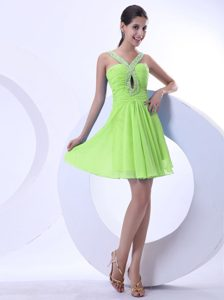 Yellow Green Lovely Beaded V-neck Chiffon Pageant Dress with Ruching