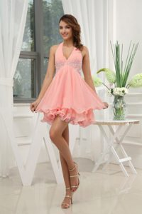Low Price Halter Watermelon Pageant Dress for Miss World with Appliques
