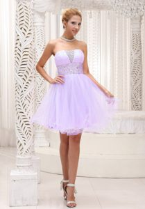 Beaded Lilac Strapless Cheap Organza Prom Pageant Dresses in Mini-length