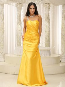 Appliqued One Shoulder Simple Prom Pageant Dresses in Elastic Woven Satin
