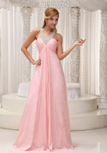 Beaded Scoop Neckline Ruched Chiffon Pageant Dresses in Baby Pink on Sale